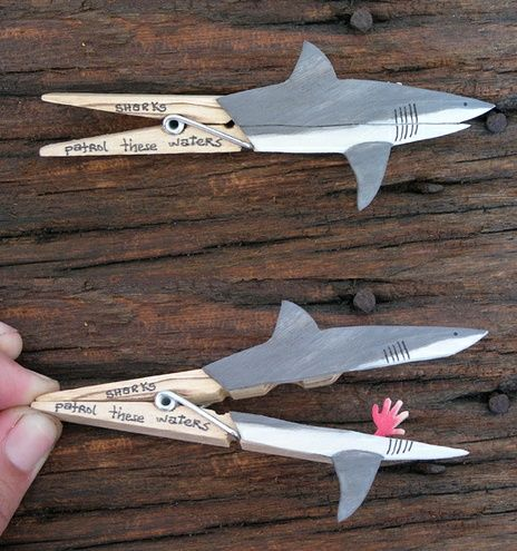 Clever Clothespin Crafts Shark