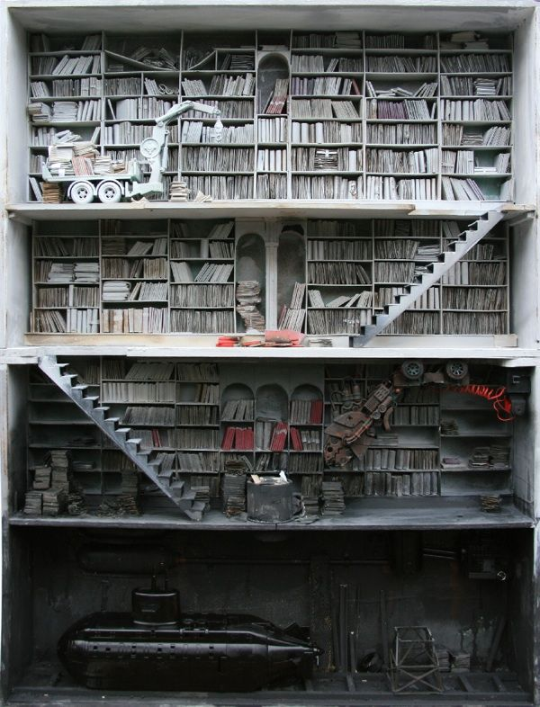 It's a dollhouse library, but still. I can dream of having a submarine in my basement, can't I?