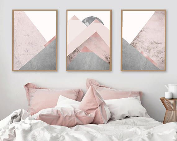 Printable Art Downloadable Prints Set Of 3 Mountains Blush Pink Grey Scandinavian Modern Contemporary Poster Wall Decor Triptych Trending Bedroom Design Pink Bedroom Bedroom Decor