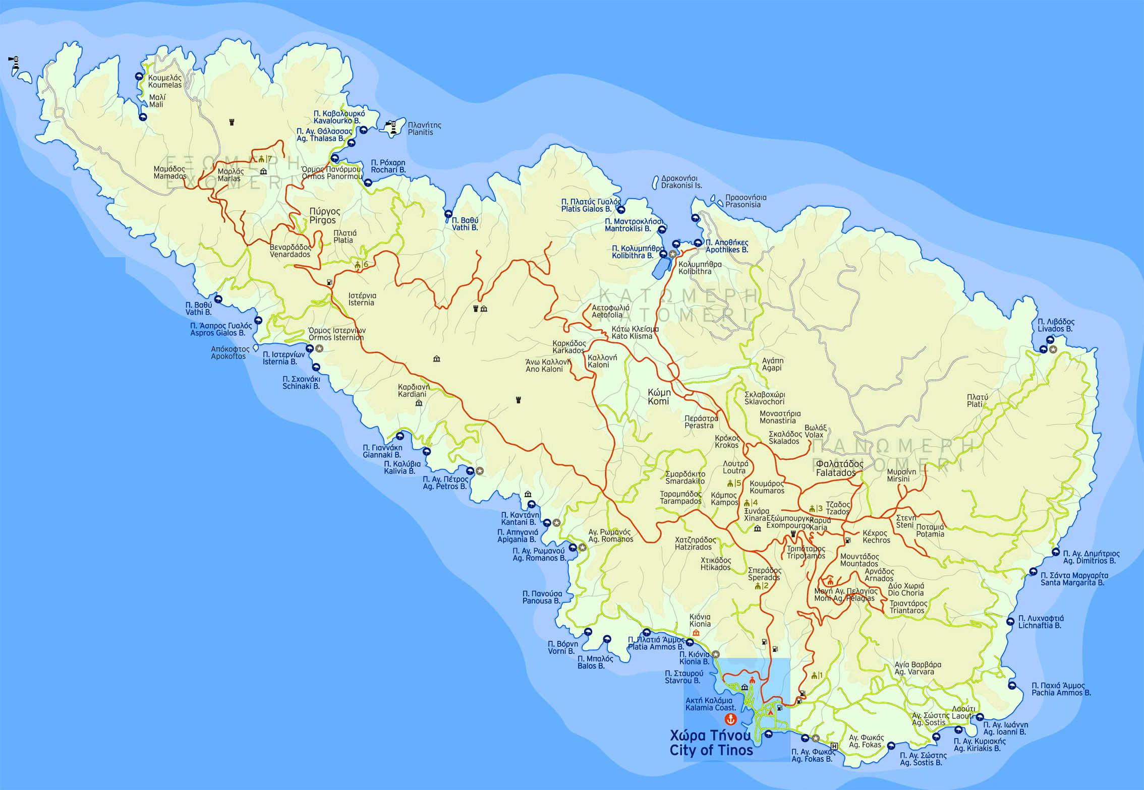 Tinos Island Map Tinos Nissos Beer Pinterest