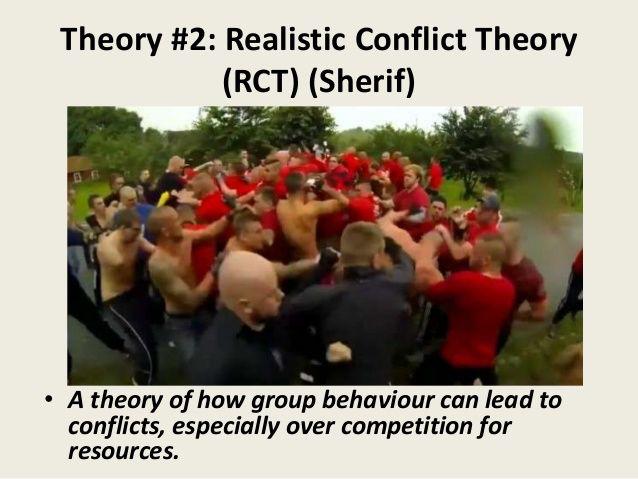 Muzafer Sherif: Robber Caven poikaleirikoe, ryhmien tavoitteiden vaikutus ryhmien välisiin suhteisiin. Realistisen konfliktin teorian mukaan ryhmien välinen vihamielisyys johtuu siitä, että ne kilpailevat samoista niukoista resursseista ajaen omaa etuaan.