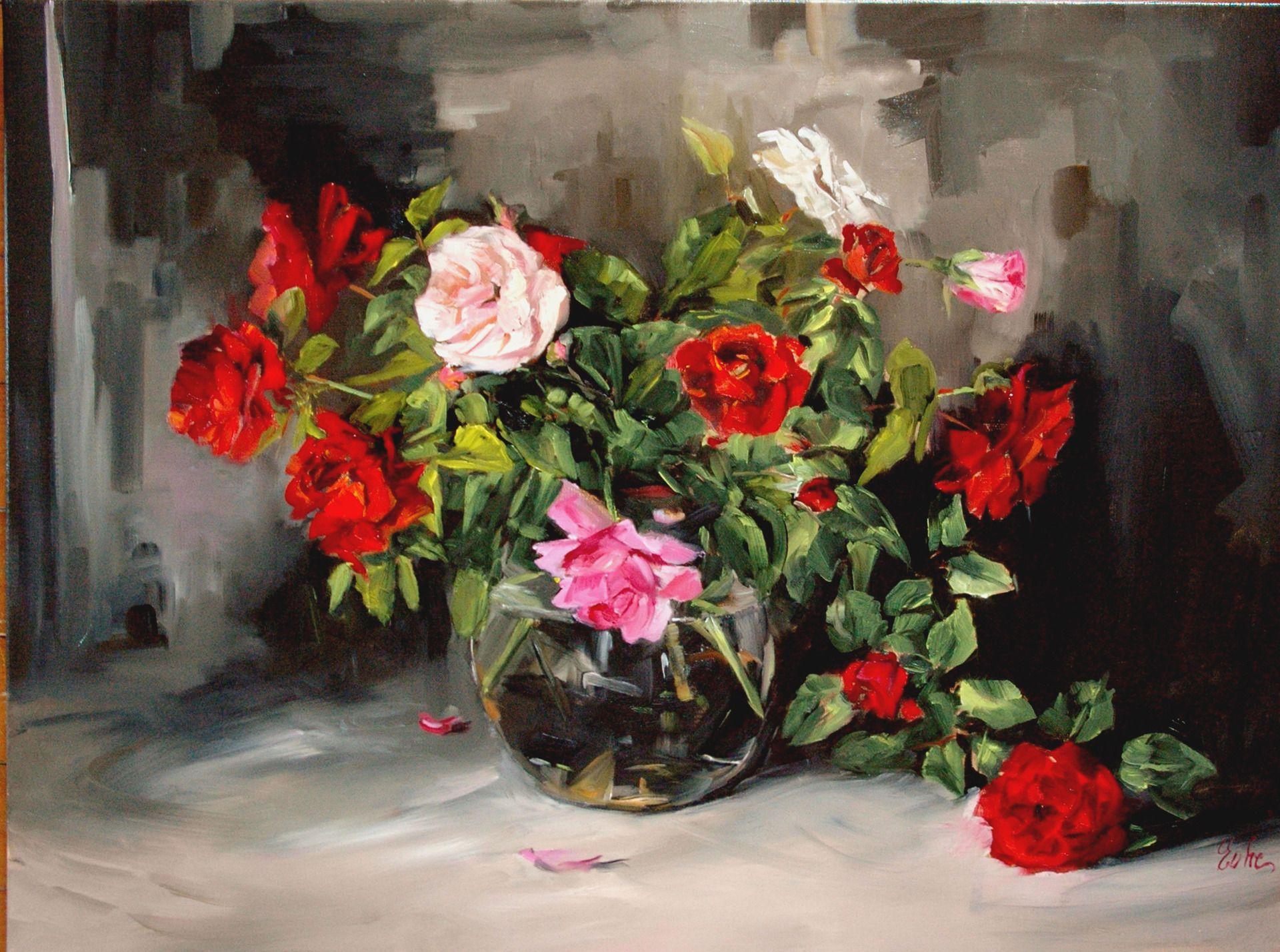 Le grand bouquet de roses rouges , tableau