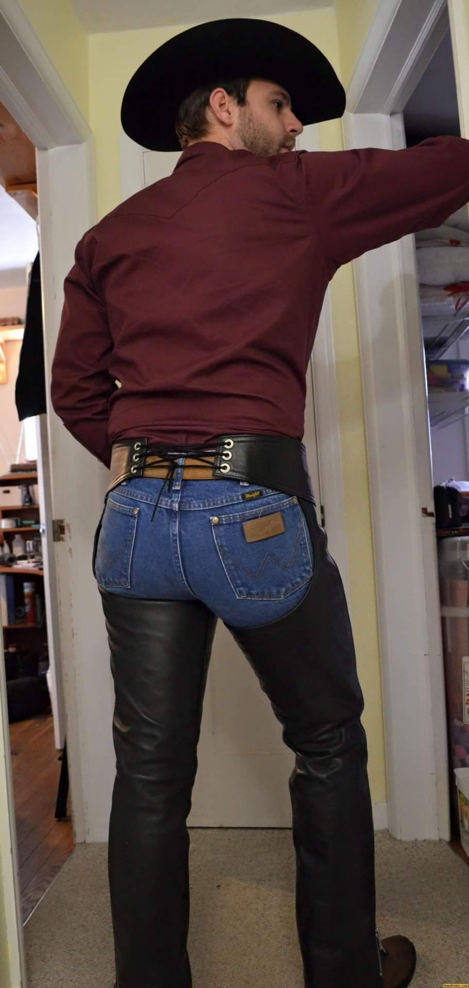 marvel on this #leathercowboy wrangler tight wrapped beefy butt