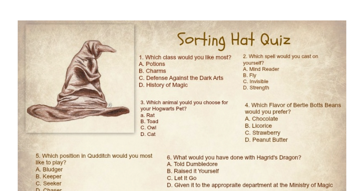 Witty image for harry potter quiz printable