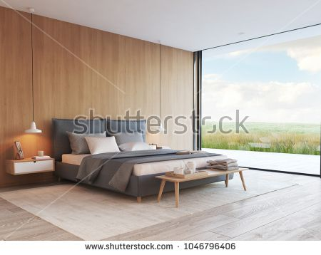 3d rendering modern bedroom in a apartment with view