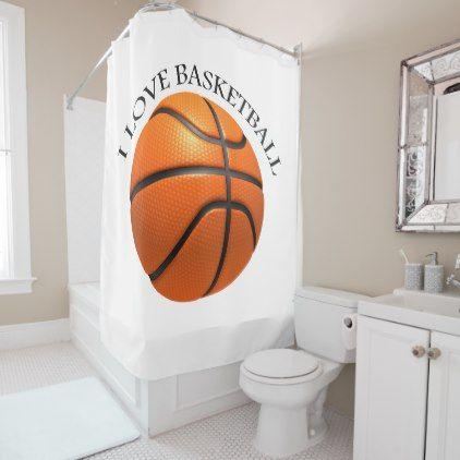 Custom Orange And Black Leather Basketball Shower Curtain Zazzle