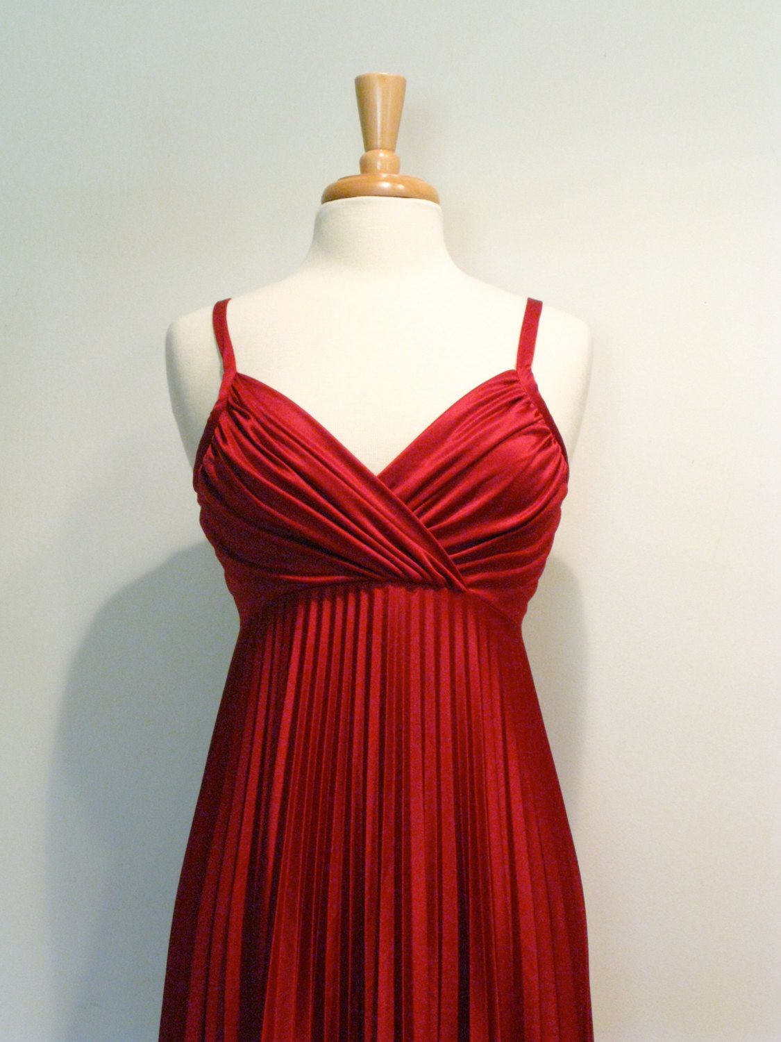 Reserved for stacy vintage maroon empire waist pleated s maxi