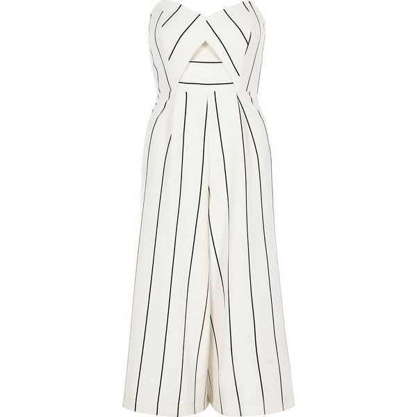 0376596e86c River Island White stripe bandeau culotte jumpsuit ( 50) ❤ liked on  Polyvore featuring jumpsuits