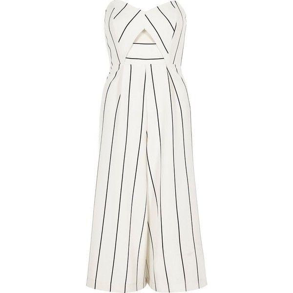 2d0e96c2dea4 River Island White stripe bandeau culotte jumpsuit ( 50) ❤ liked on  Polyvore featuring jumpsuits