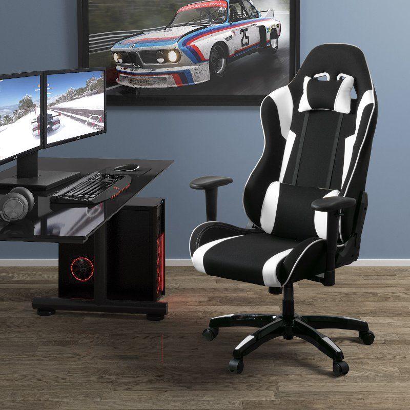 HighBack Ergonomic Black and White Gaming Desk Chair