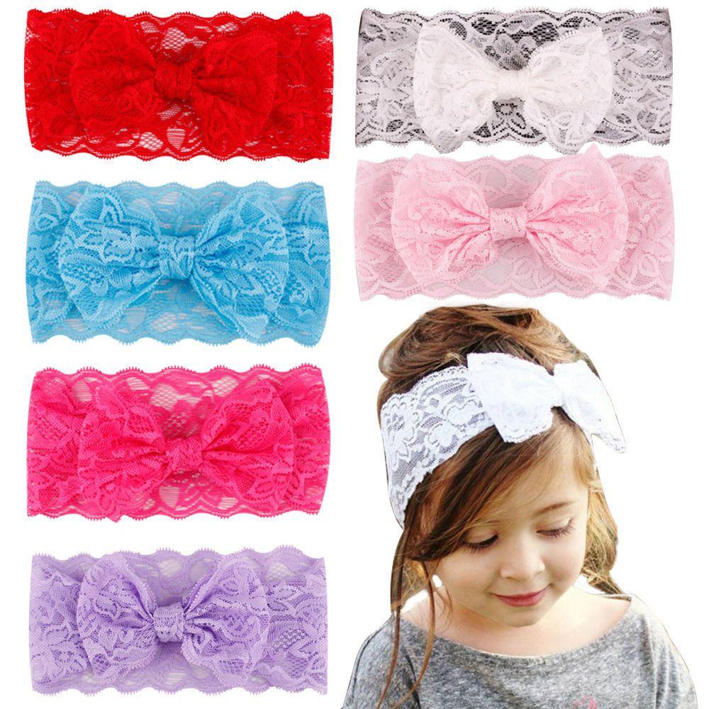 2.99 - 7Pcs Kids Girl Baby Headband Toddler Lace Bow Flower Hair Band  Accessories  ebay  Fashion b5bdf03eee4