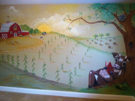 Estimate for Red barn farm mural Nursery Art by ...
