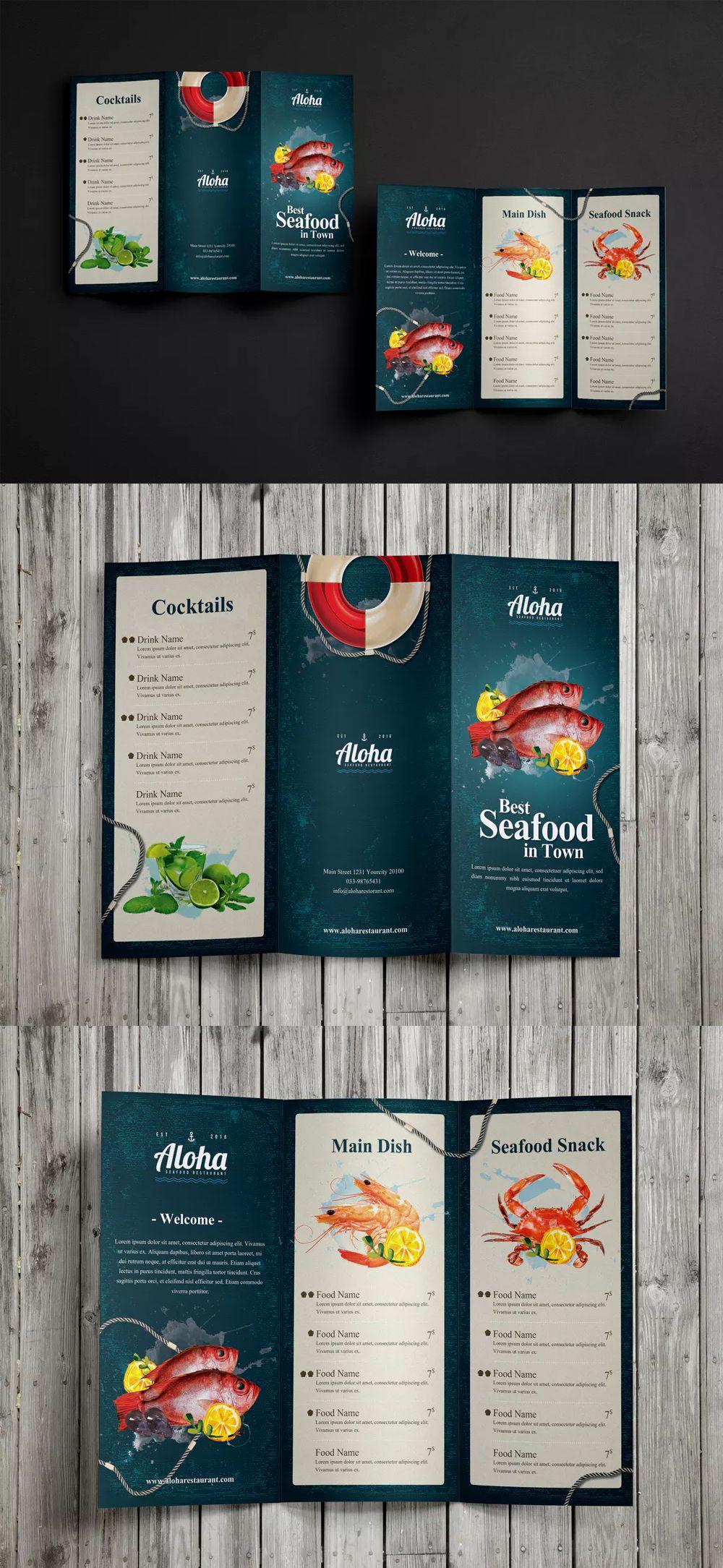 seafood menu 3 fold template psd food menu templates pinterest