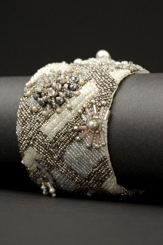 Cake Couture Cuff | Andrea Gutierrez. Pearls, sterling silver, glass seed beads, bugle beads, metal seed beads on heavy silk.