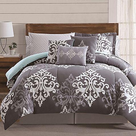 12 Piece Textured Damask Comforter Set In Grey Teal Comforter