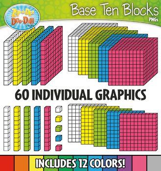 rainbow base ten blocks clipart set zip a dee doo dah designs rh pinterest com Base Ten Blocks Base Ten Blocks