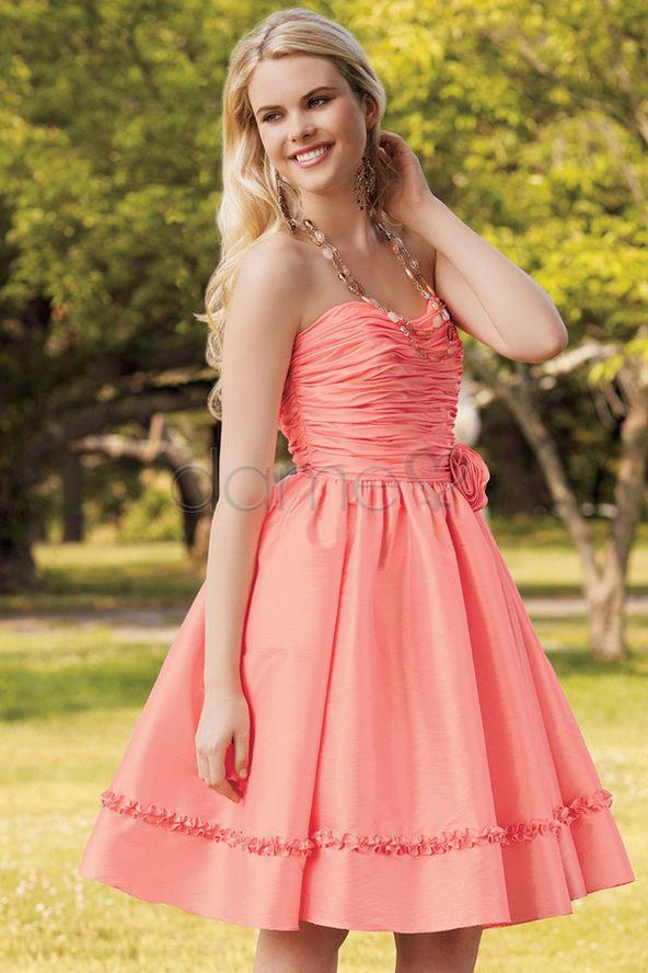 Falte Mieder trägerloses romantisches plissiertes knielanges schickes & modernes ärmelloses Homecoming Kleid