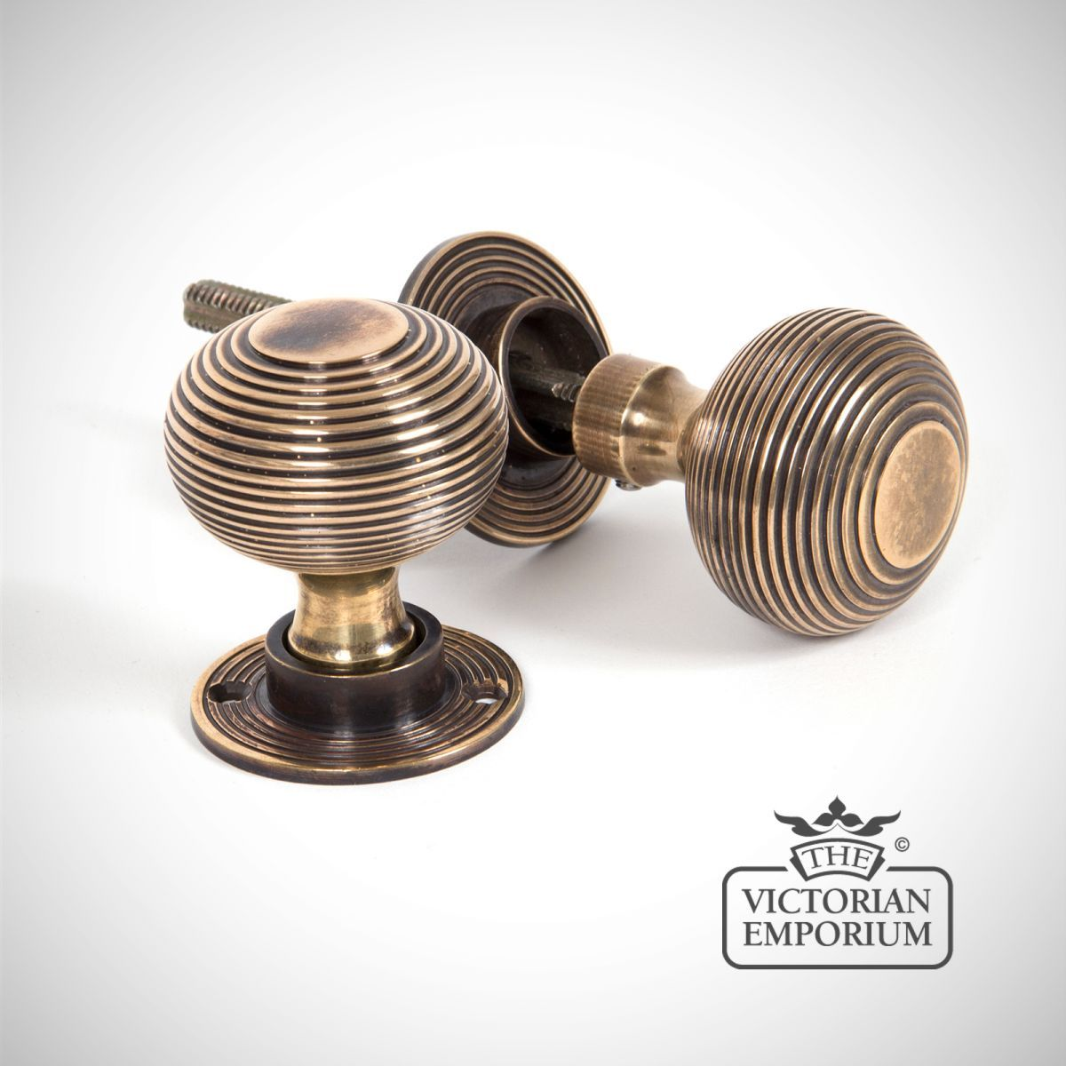 Buy Beehive Mortice/rim Knob Set In Antique Brass, Door Knobs And Door  Handles   Beehive Knob Set In A Classical Antique Brass Finish With  Detachable Roses