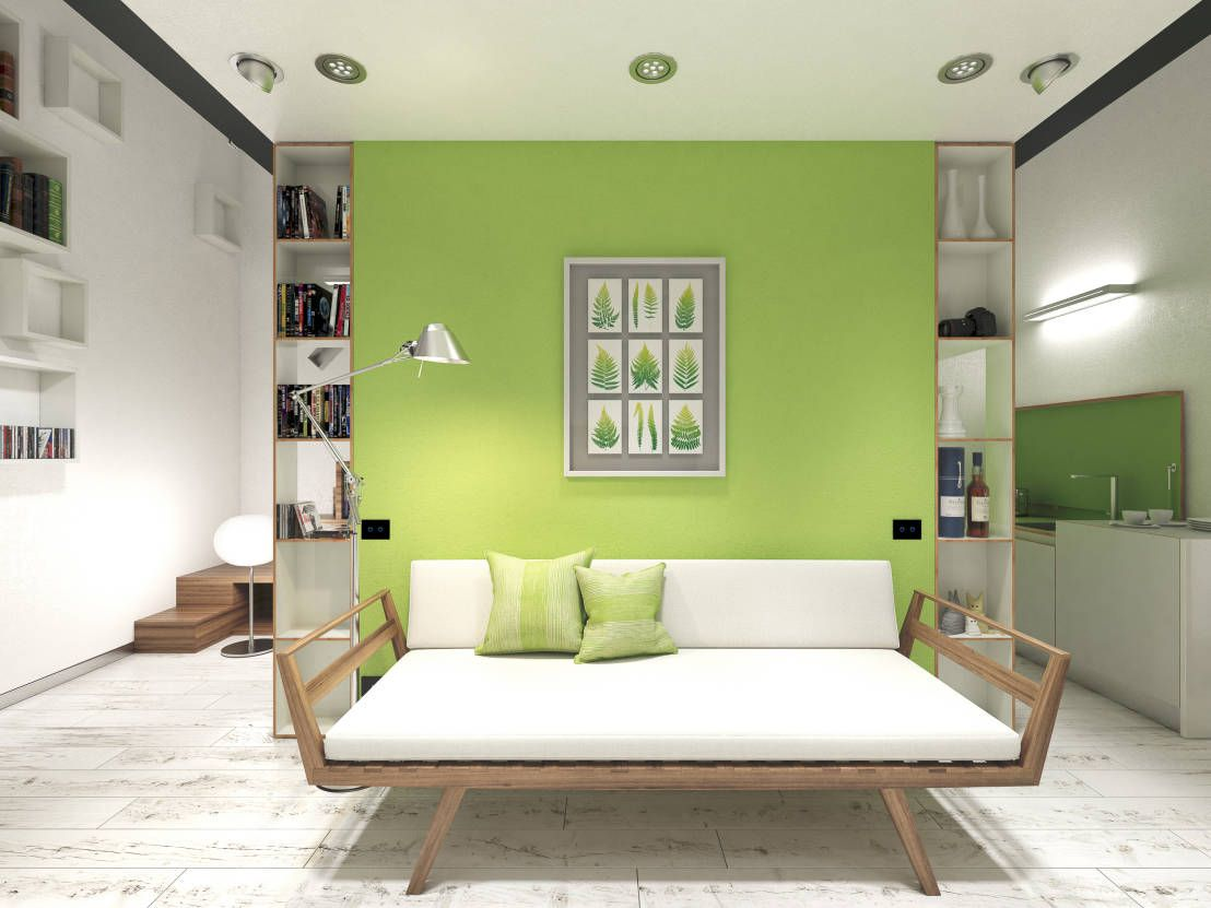Cool Modern Living Room With Lime Green Feature Wall And Rustic Style White Wooden Floors Scandinavian Day Bed Couch By Arch