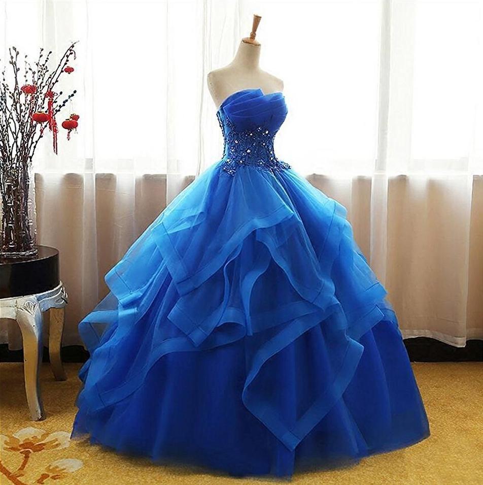 Royal Blue Sleeveless Prom Dresses,Lace Applique Quinceanera Dresses #spitzeapplique