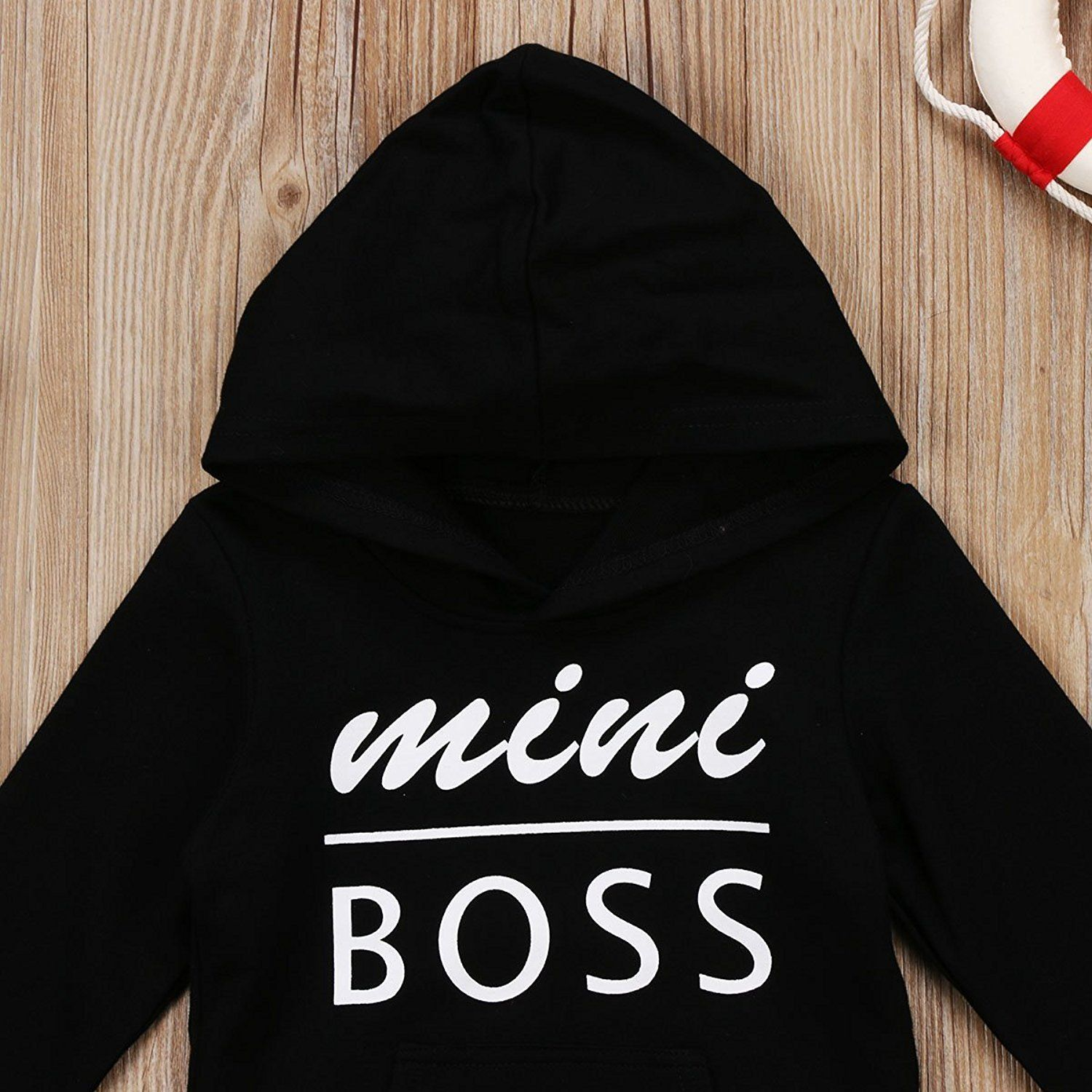 Kids Baby Boy Girl Hooded Sweatshirt Tops Black Casual Hoodie with Pocket Outfit