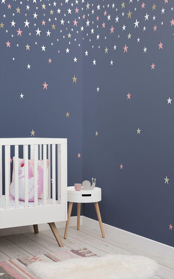 Blaue Sternschnuppen Wandtapete Tapeten Wandbilder Pinterest