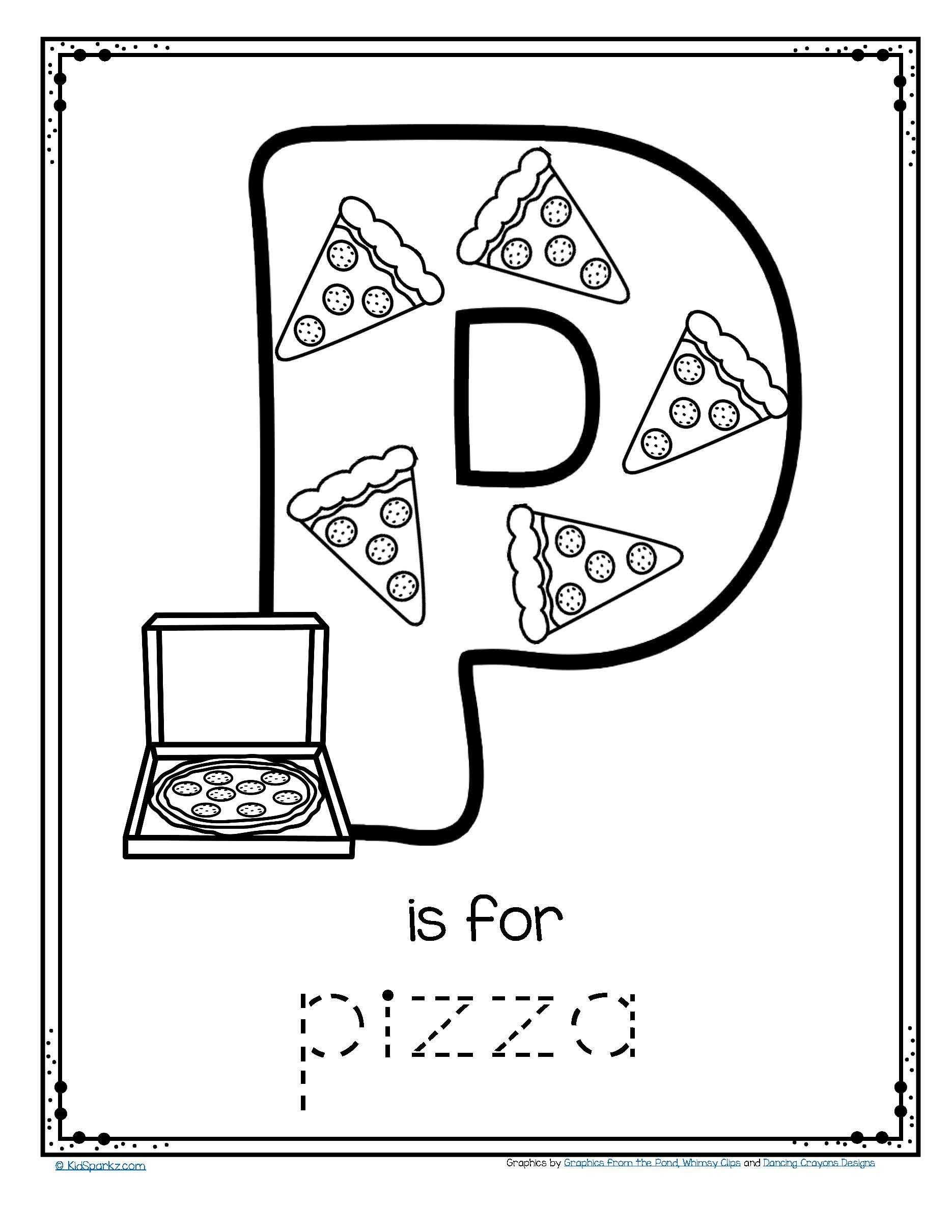 Free P Is For Pizza Alphabet Trace And Color Printable