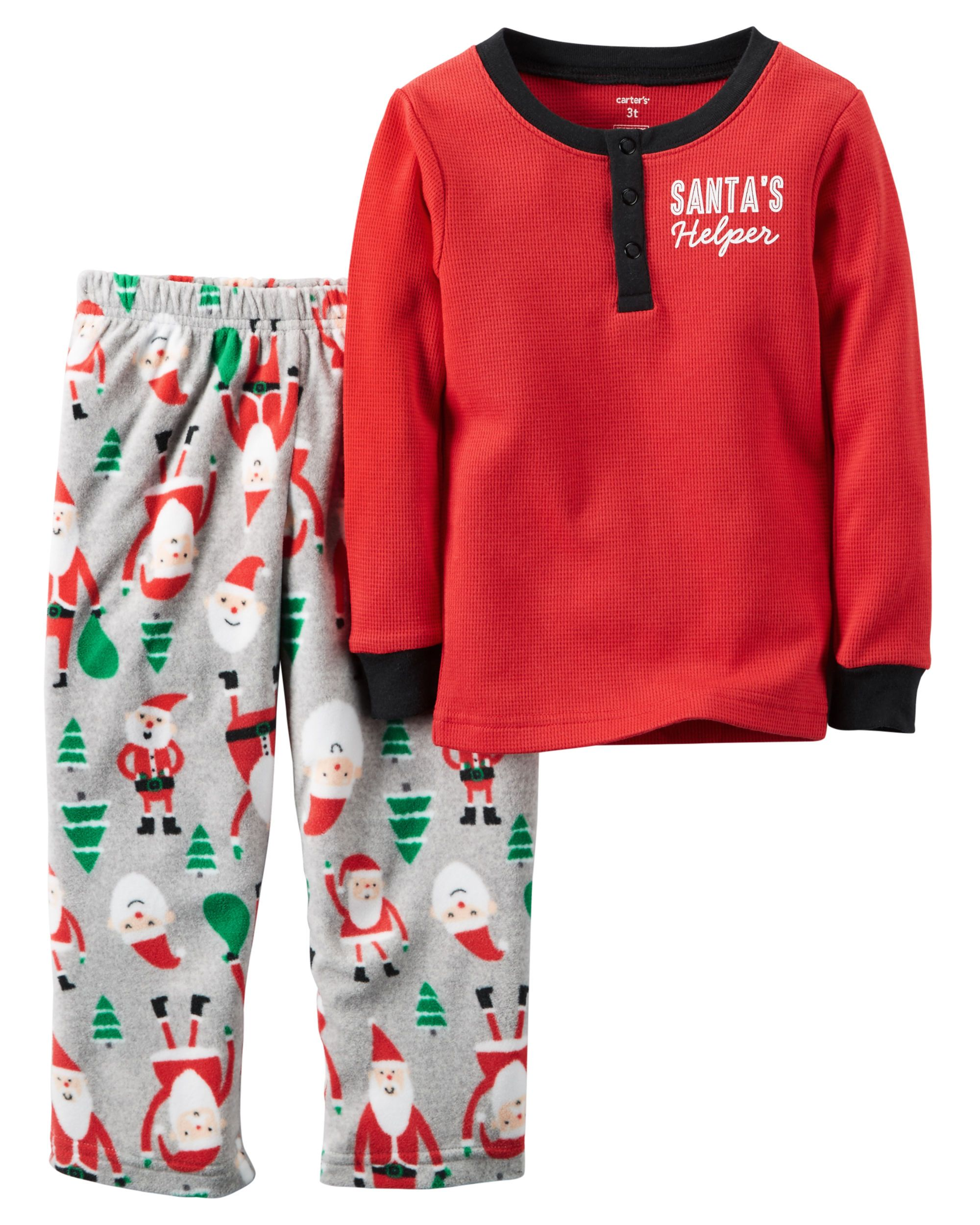 f2fdeed74 Baby Girl 2-Piece Cotton Thermal   Fleece Christmas PJs