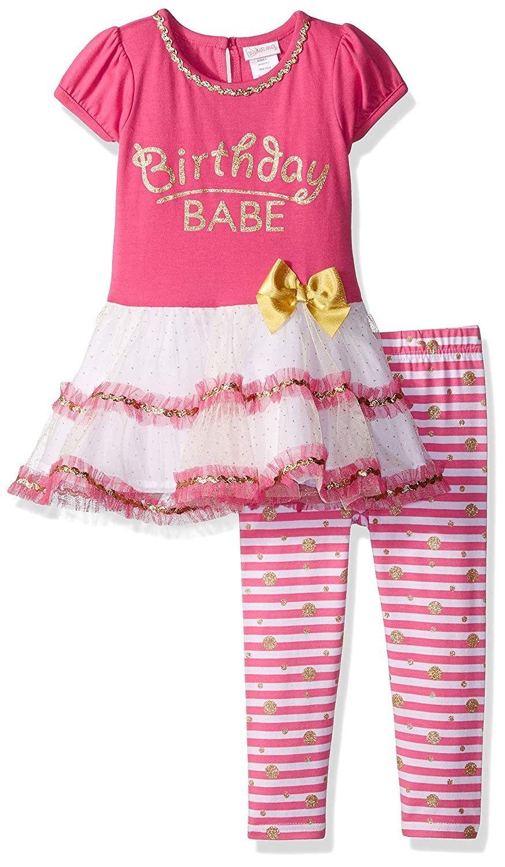 Youngland Girls Birthday Babe Tutu Mini Dress /& Knit Printed Legging