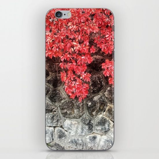 Red ivy leaves autumn stone wall iPhone & iPod Skin by #PLdesign #autumn #fall #leaves