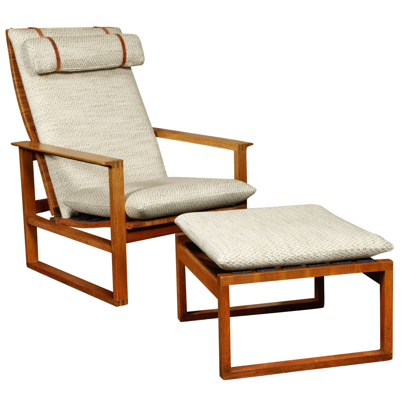 Easy Chair Ottoman By Borge Mogensen In Oak With Linen