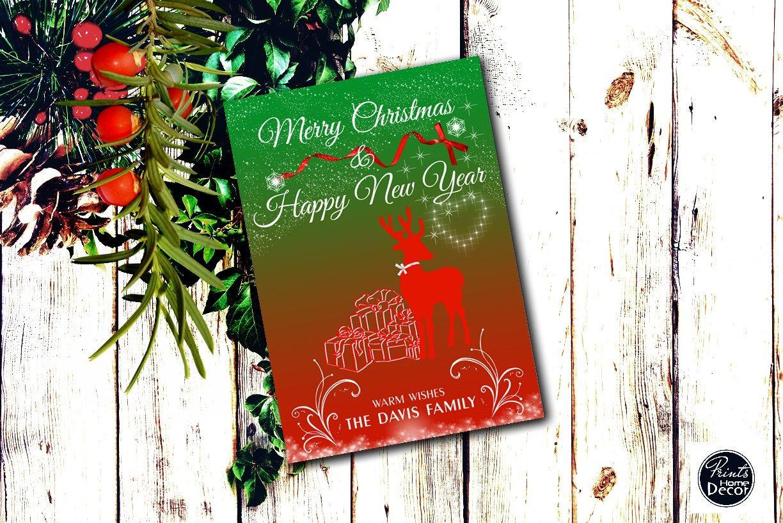 Custom Christmas Card Printable Christmas Card Deer Red And Green