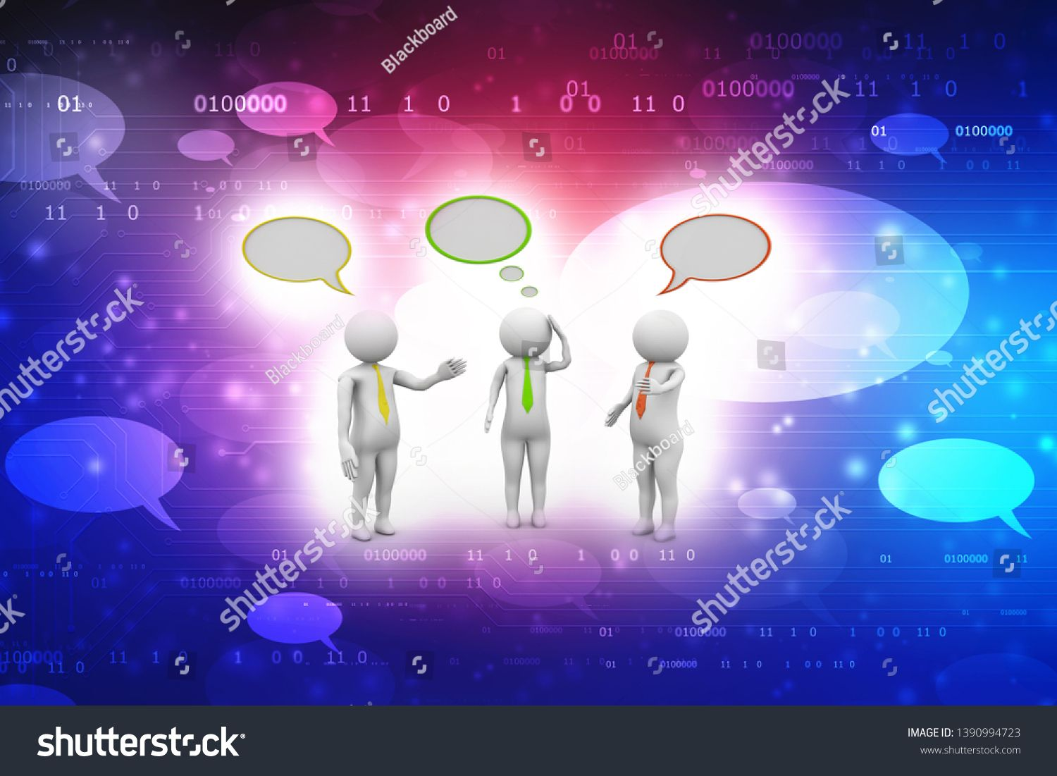 Business People Standing And Talking With Speech Bubbles On Technology Background People Taking And Dis Speech Bubble Stock Illustration Technology Background
