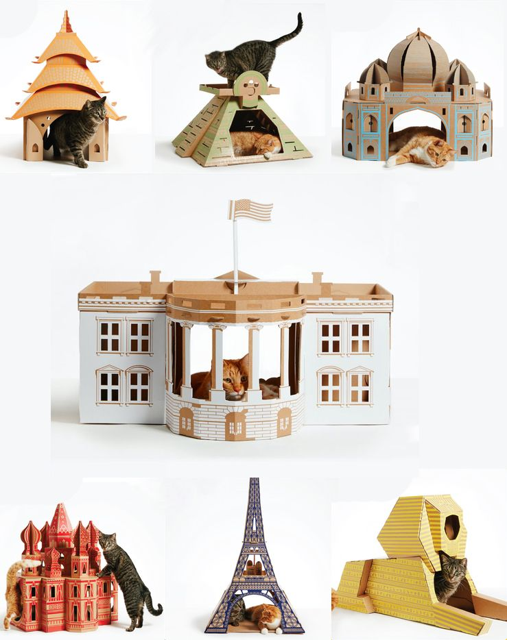 Amazing cardboard cat houses 3 pinteres for Castle cat tower