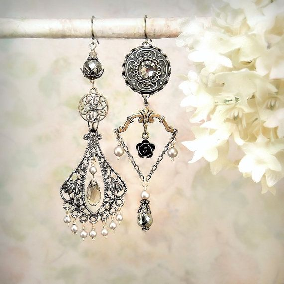Enchantment - Romantic Chandelier Earrings Asymmetrical Mismatched Mixed  Metal Gypsy Earrings Solid Bronze Pyrite Gothic Bohemian Earrings 3910f03b039