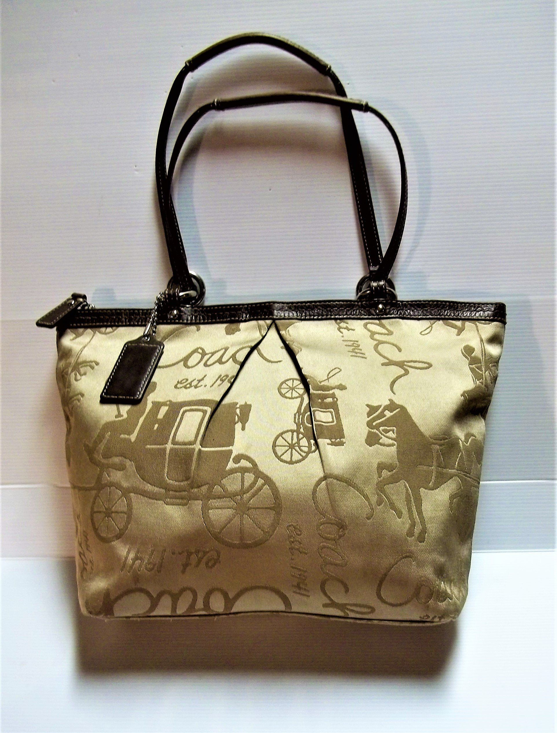 565e93842979 Vintage Coach Satin Khaki / Brown Leather Signature Horse and Carriage Tote  Bag # A1049-F14482 by calhounantiques on Etsy