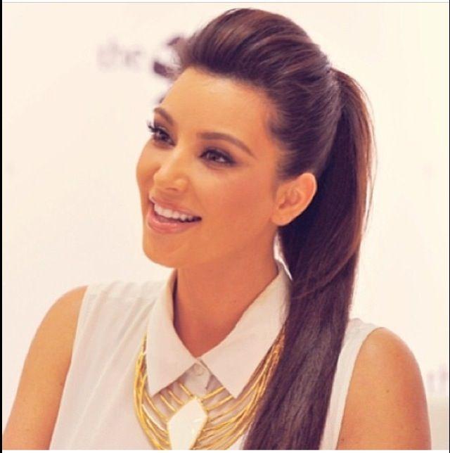 High Ponytail With A Poof Kim Kardashian Hair And Makeup