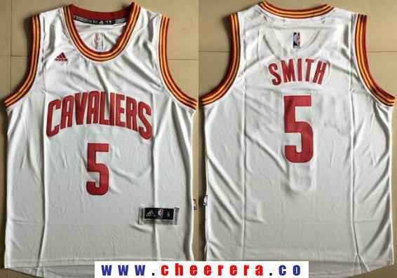 bd154e61b06 Men s Cleveland Cavaliers  5 J.R. Smith White Stitched NBA Adidas  Revolution 30 Swingman Jersey