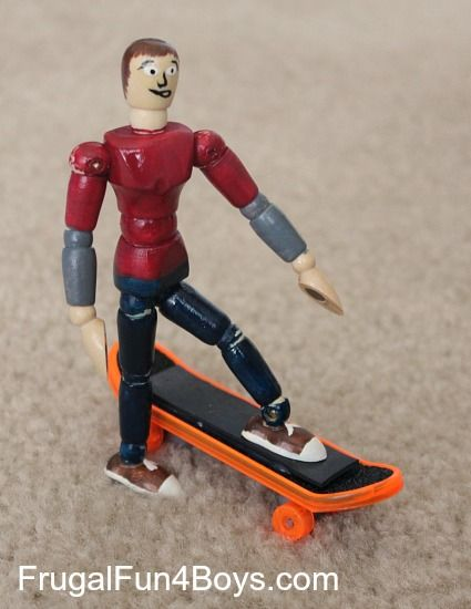 Turn a wooden drawing mannequin into a magnetic skateboard rider!