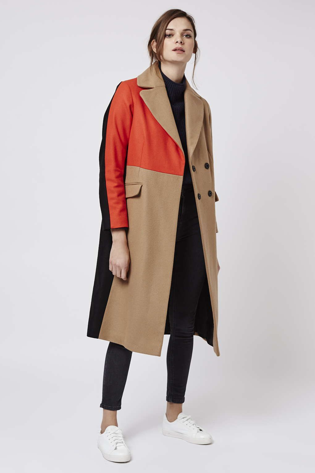 916f1a57c82 Colour Block Wool Blend Coat - Topshop