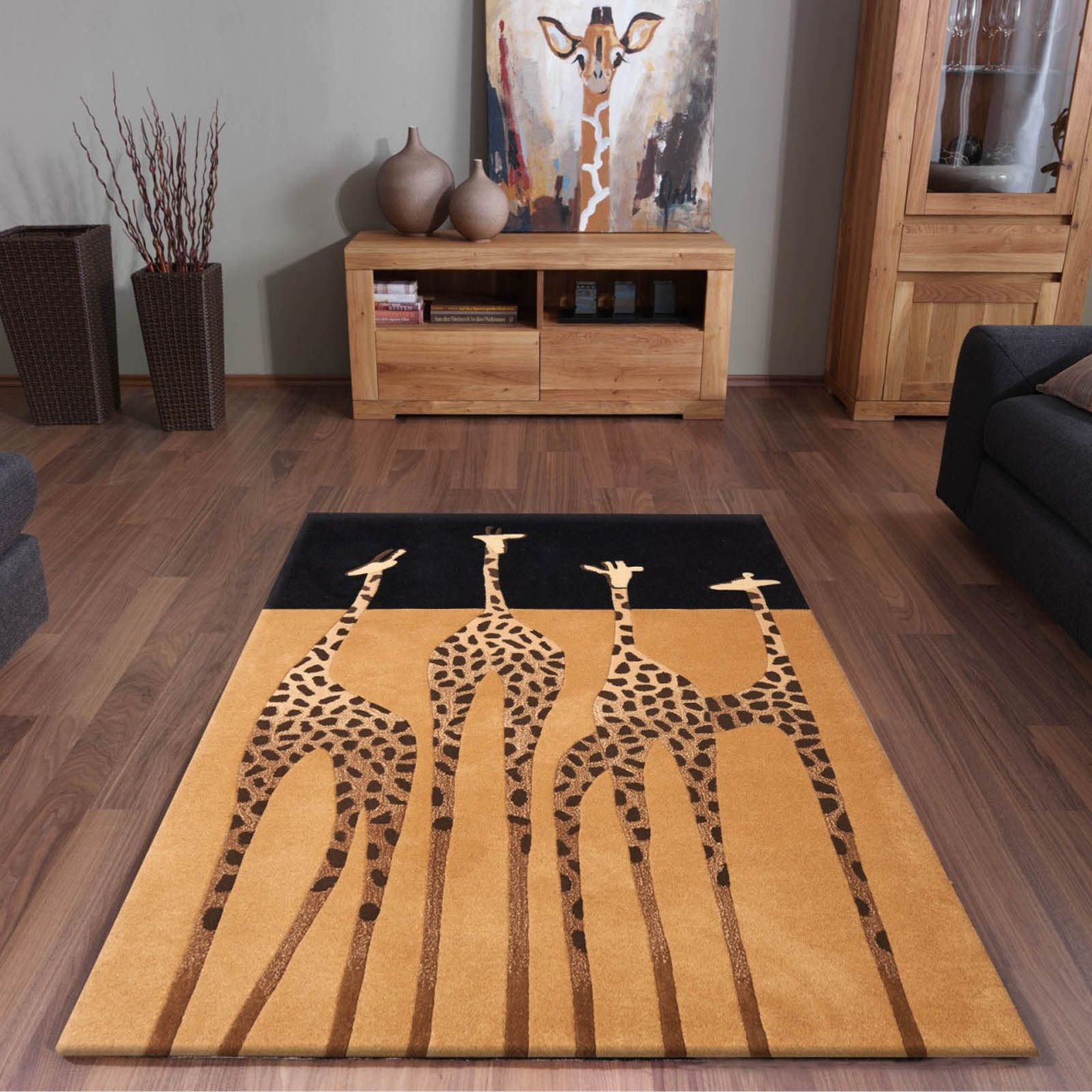 Safari inspired design with four beautiful giraffes and a gold and kalahari giraffe rugs in gold and black free uk delivery the rug seller baanklon Images