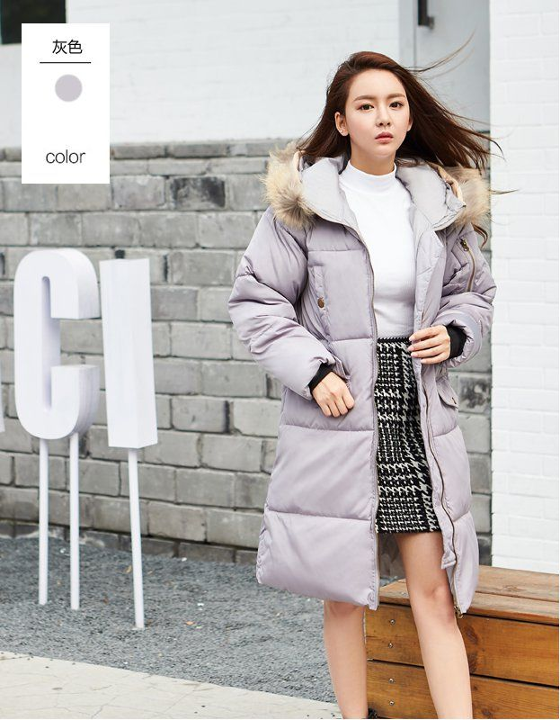 Cw52748 Korean Style Loose Cotton Coat Thick Long Down