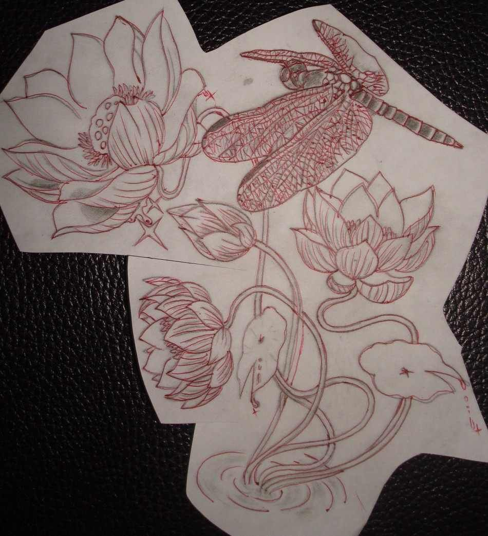 Lotus Flower Tattoo With Dragonfly: Dragonfly Lotus Tattoo