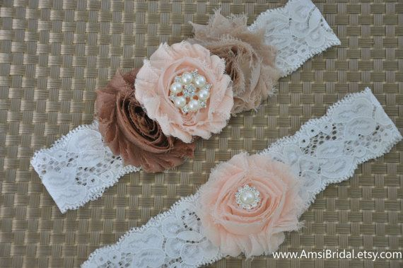 Wedding Garter Set,Peach garter,Tan Garter,Cream garter,Toss lace Garter,Tan…