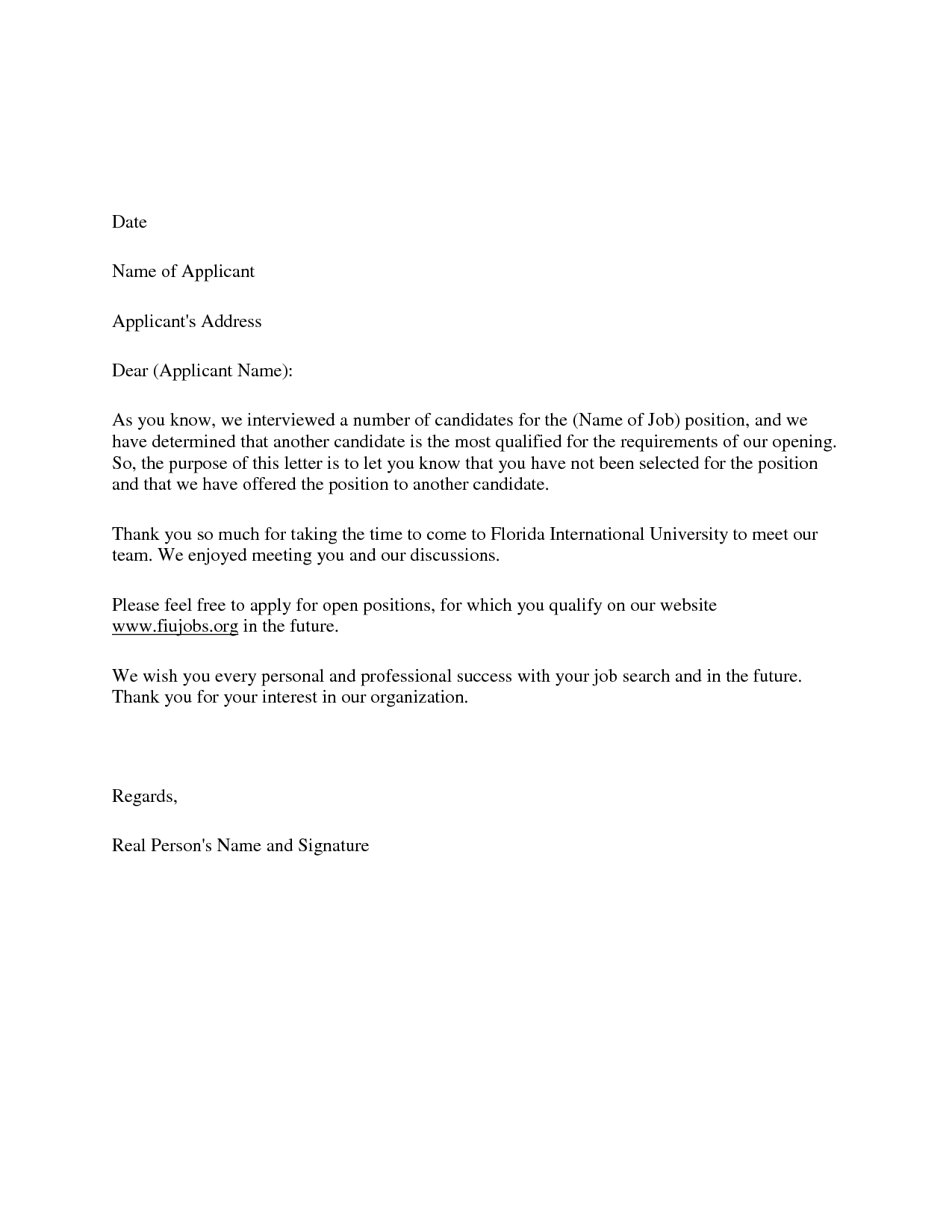 Candidate Decline Letter Employers of choice send rejection – Rejection Letter Sample