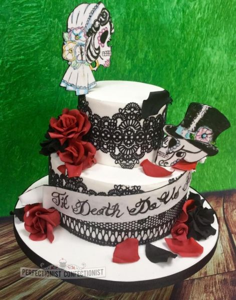 Marta And Damien Gothic Skulls Wedding Cake Skull Wedding