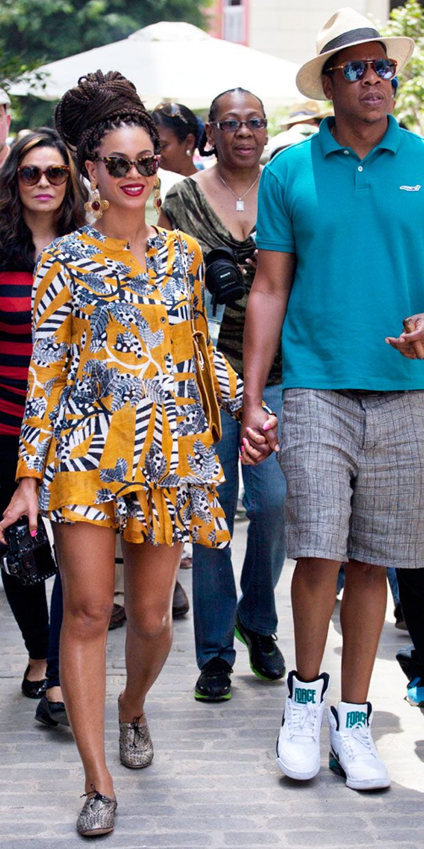 Look On vacations. Beyonce in Cuba.   Thakoon Addition Cape Back Blouse  and Button Front Skirt . giraffeWALK Jaipur Tie Shoes