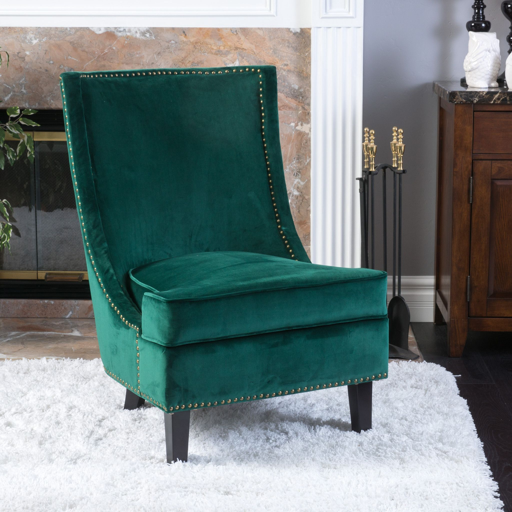 Geneva Velvet Dark Green Single Sofa Accent Chair #BedroomChair ...