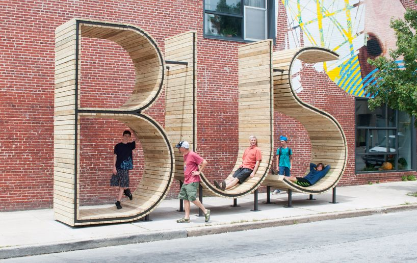 waiting for the baltimore bus inside a giant typographic sculpture