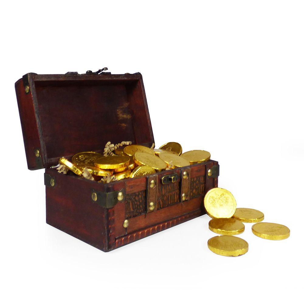 Childrens chocolate coins treasure chest chocolate